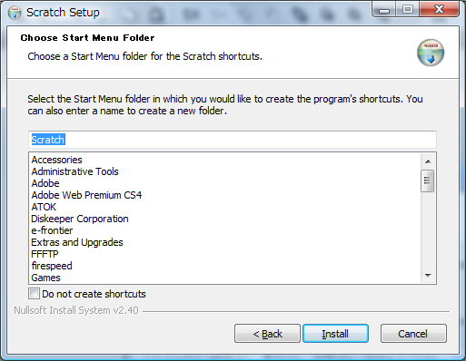 Choose Start Menu Folder